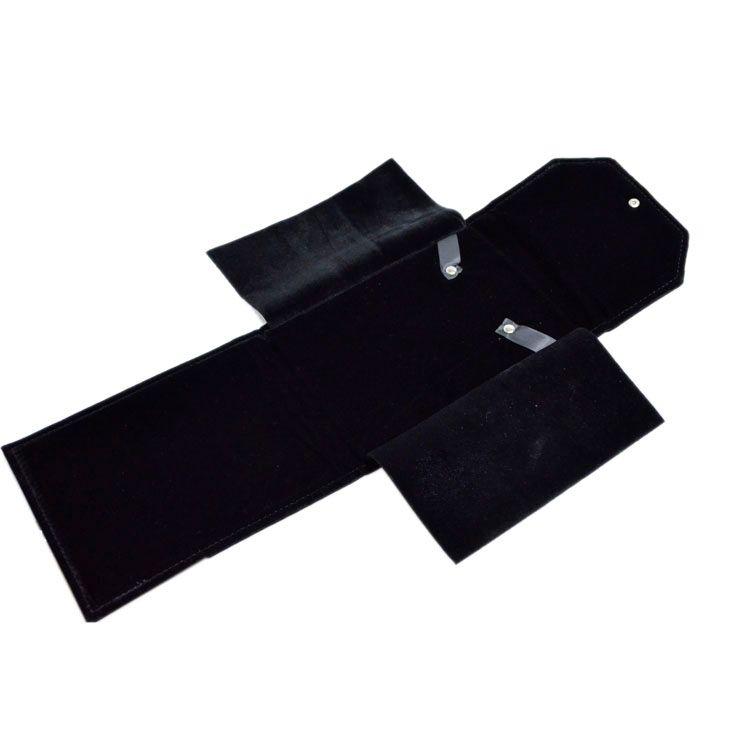 2016 Nouvelle Arrivée Bijoux Sac Portable Dossier Perle De Stockage Voyage Titulaire Rouleau pour Collier Pendentif Noir Velours Bijoux Poche Boîte