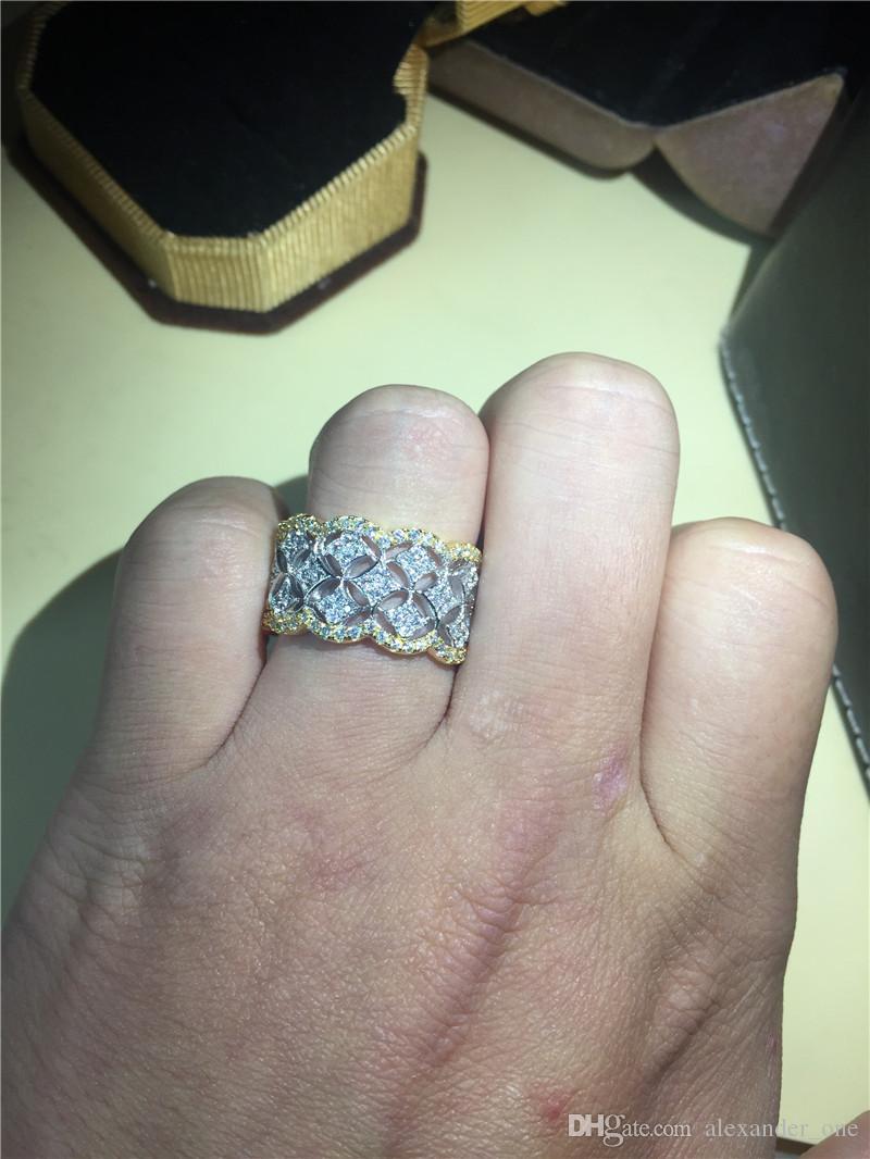 Di lusso della signora della signora 925 dell'argento sterlina riempito d'argento simulato il diamante CZ anelli della pietra preziosa della sovrapposizione dell'anello eterno di cerimonia nuziale le donne e gli uomini