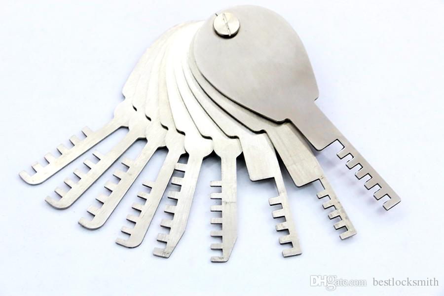 9 قطع الطي مشط قفل قفل أداة المقاوم للصدأ قفل اختيار مجموعة مزدوجة الوجهين أدوات قفل فتاحة