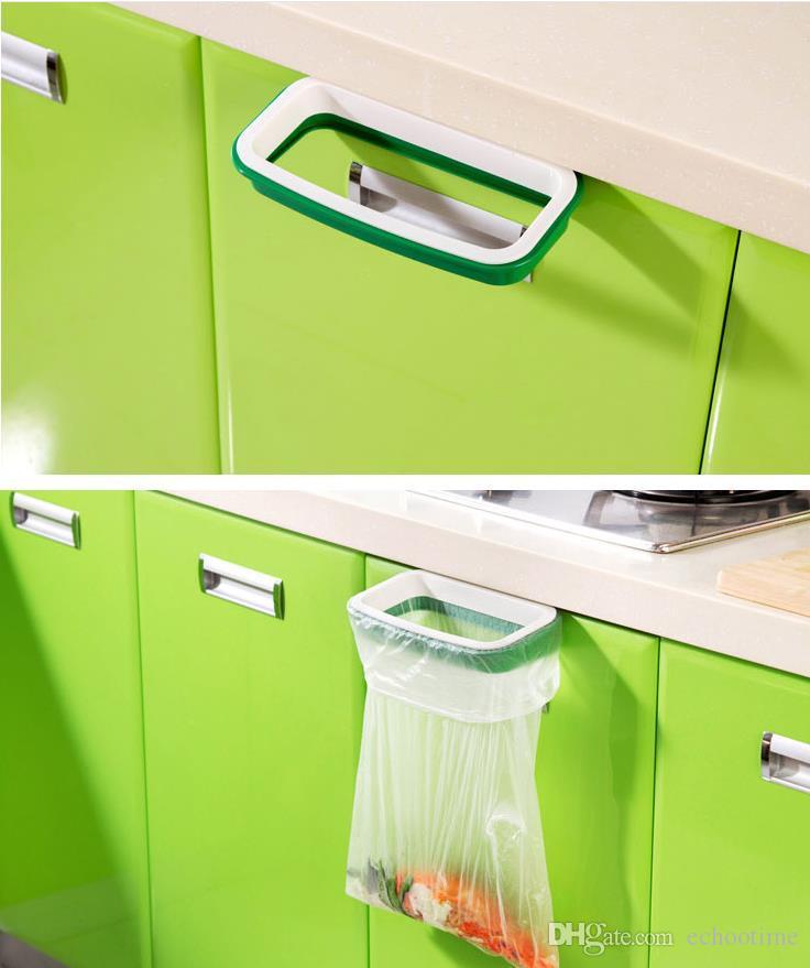 Criativo de volta porta de aço inoxidável saco de lixo prateleira de armazenamento gancho multifuncional porta do armário de cozinha pendurado cremalheiras