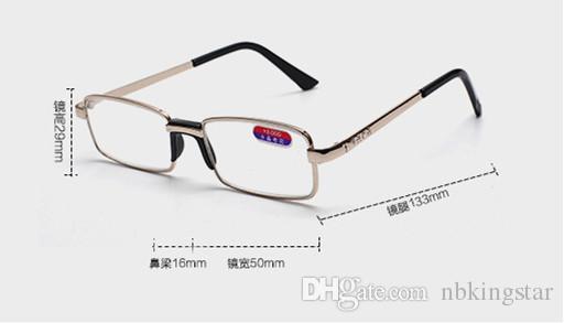 10 Teile / los Neue Frauen Männer Metall Quadrat Goldene Lesebrille Mit Nasenpolster Kristallglas Brille Diopter + 1,00 + 4,00 Freies Verschiffen