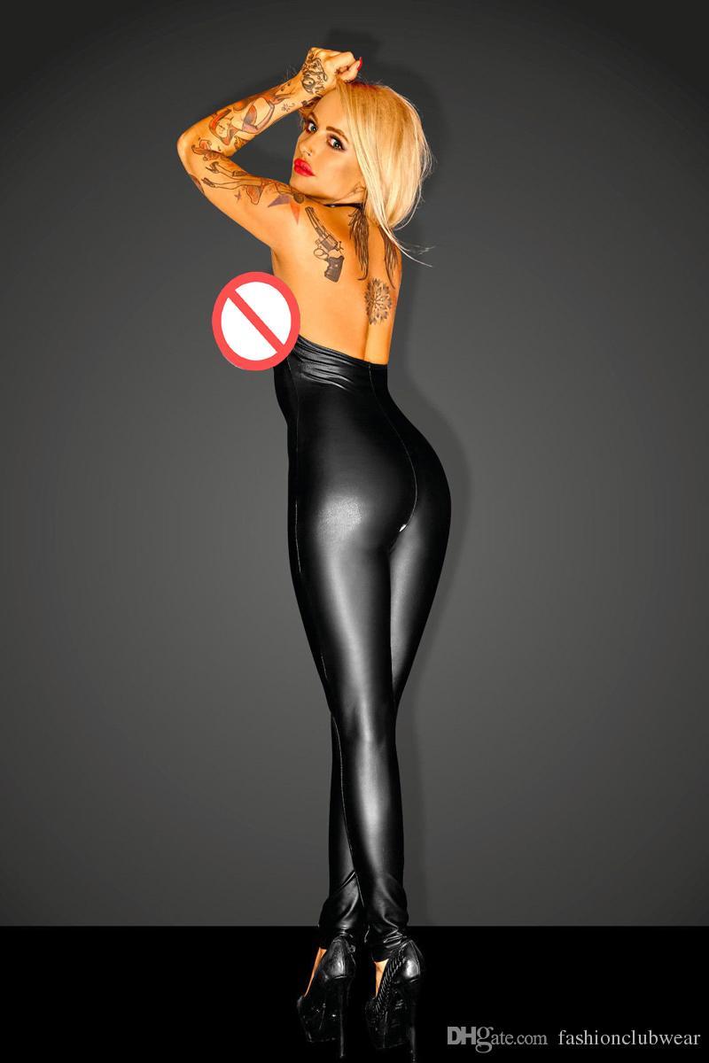 Sıcak Seksi Siyah Faux Deri Bodysuit Erotik Kadınlar Açık Göğüs Backless Catsuit Fetiş Halter Fermuar Kasık Parti Clubwear