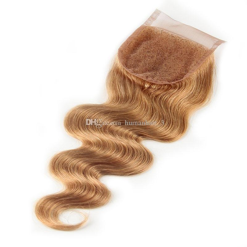 Pure Color Honey Blonde #27 Human Hair Bundles With Lace Closure 4x4 Brazilian Body Wave Hair Extension With Closure Strawberry Blonde