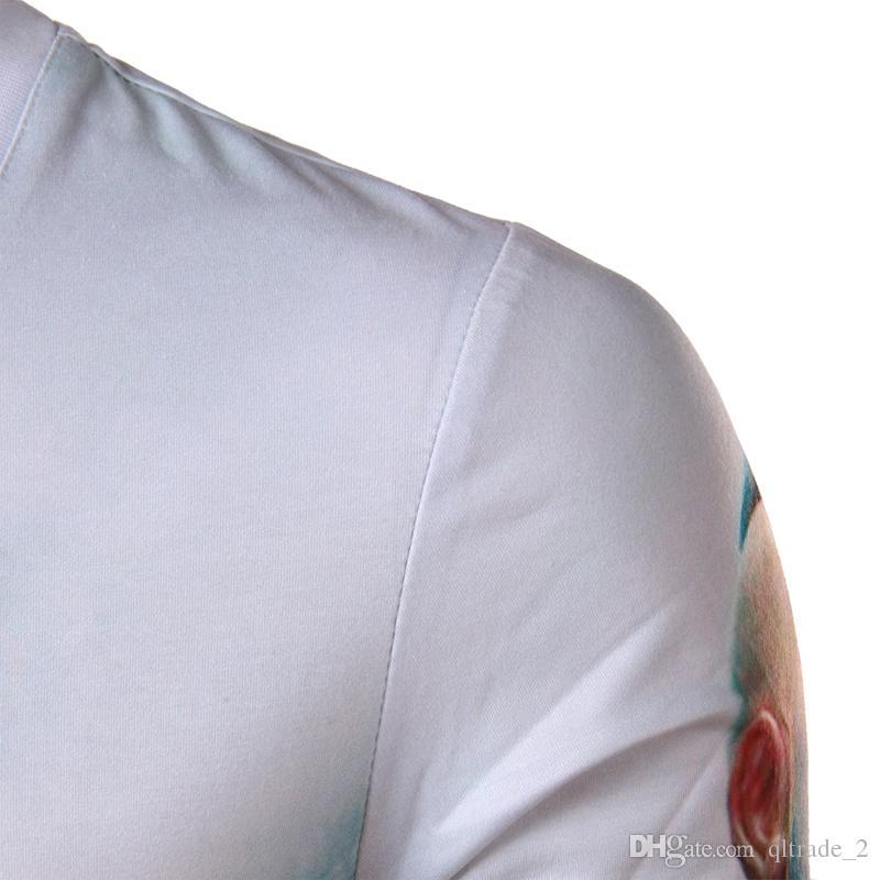 2016 Outono novas camisas dos homens Popeye impressão 3D personalizado moda mens de manga comprida T-shirt