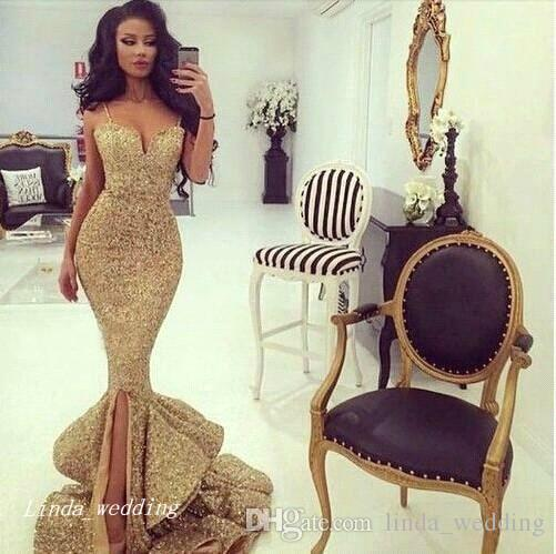 2019 Gold Sequins Prom Dress Sexy Mermaid Spaghetti Straps Special Occasion Dress Formal Evening Party Dress