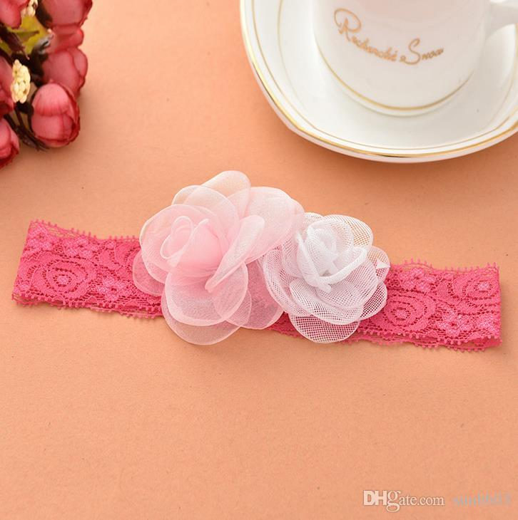 Europe Fashion Infant Baby Lace Headbands Cute Flowers Girls Hair Bands Childrens Elastic Hair Accessories Lovely Kids Headwrap