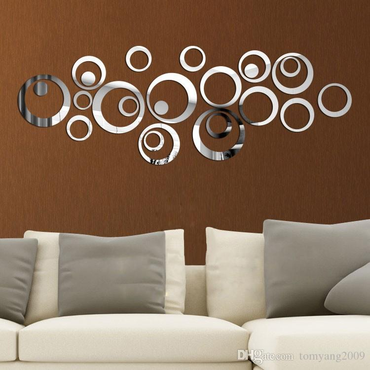 Silver Gold Cricle Wall Etiqueta de pared Feliz Espejo Anillo Real Moderno Acrílico Espejo 3D Pegatinas de Pared Promoción Decoración del hogar Fondo Decoración