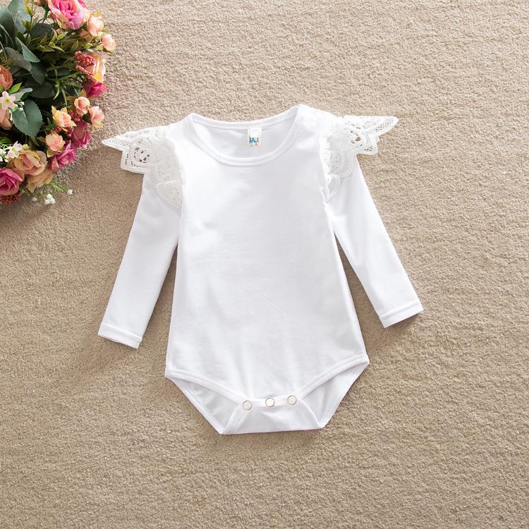 Barboteuses rayées à manches longues pour bébé printemps automne hiver enfants en bas âge en dentelle barboteuse solides couleur pure onesies bébés couvre-culottes bloomers