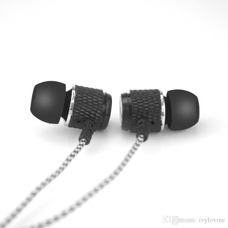 In-ear Stereo Earphone Earbuds Headphones New Fashion Reflective Fiber Cloth Line Metal Headset 3.5mm Jack Standard Free DHL