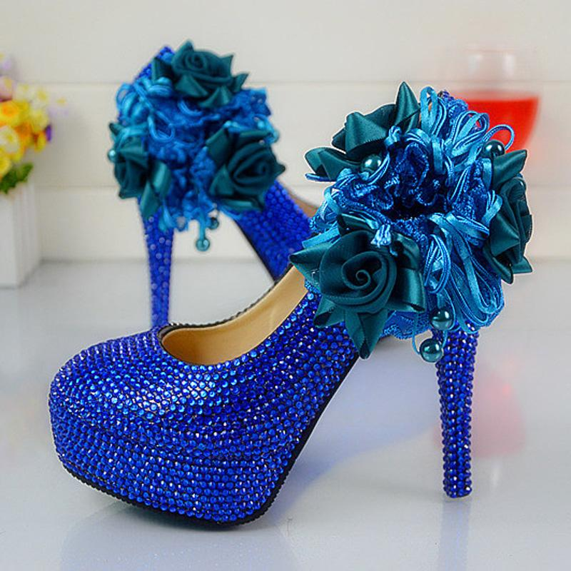 Silver Wedding Anniversary Gowns: Wedding Dress Shoes Royal Blue Color Rhinestone Party Prom