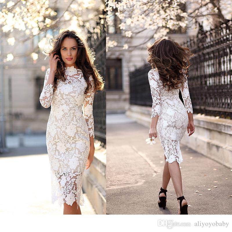 Fashion women slim lace dress 3 4 sleeve lace wedding for 3 4 sleeve wedding guest dress