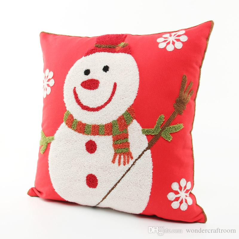 Merry Christmas Holiday Embroidered Cushion Cover Cute Happy Snowman Embroidery Cushion Covers Sofa Throw Decorative Cotton Pillow Case