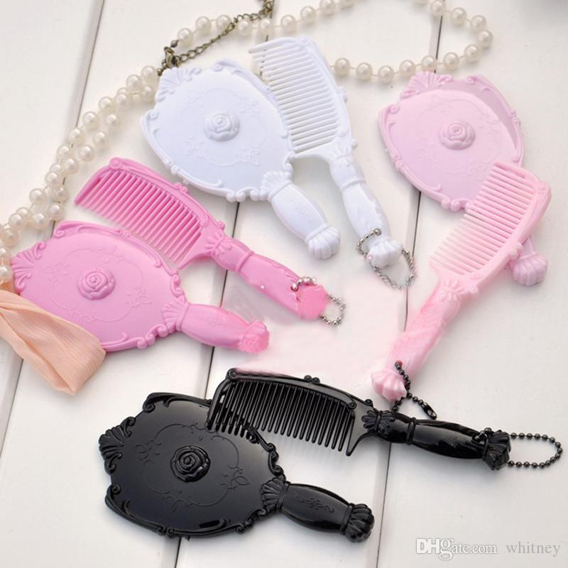 New Retro Vintage Style Girl Make-up Cosmetic Hand Held Mirror & Comb Set Promotional Mirror Gift#MD18-1