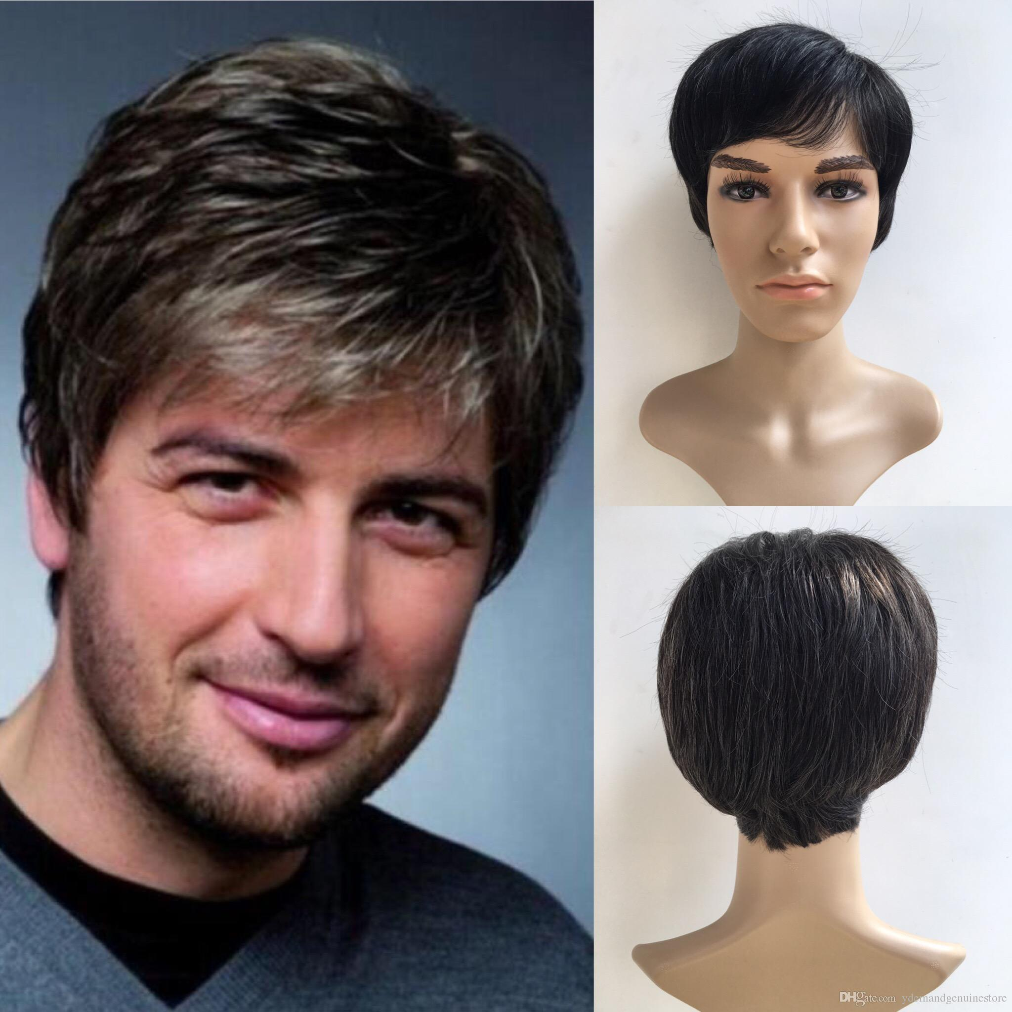 Straight Short Men Wigs Heat Resistant Japanese Fiber Dark Brown Natural Hair  Male Synthetic Wig Y Demand Full Lace Front Equal Synthetic Wigs From ... ef39d4cd9d18