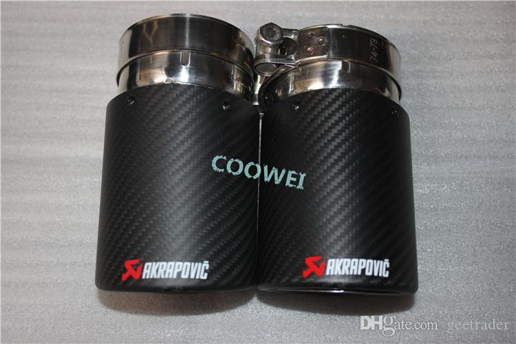 Hot Sale One Pair Inlet: 76mm Outlet: 89mm Universal Carbon fiber + Stainless Steel Car Rear Exhaust Pipe Tail Muffler Tip