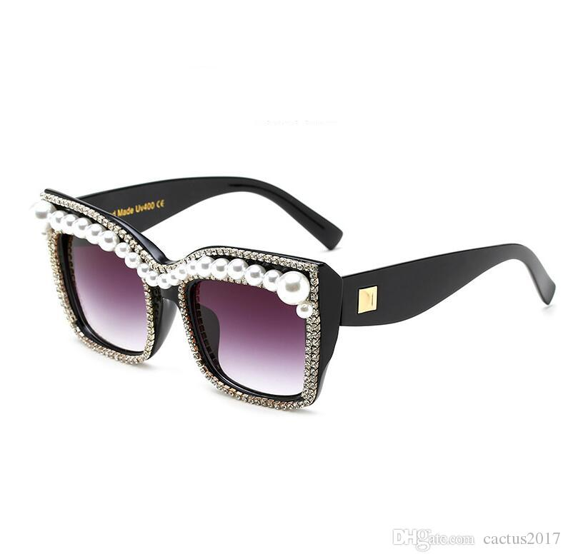 8b93ecb32cde 2017 Women Pearl Cat Eye Sunglasses Party Fashion Bling Rhinestones Vintage  Shades Ladies Oversize Square Sunglasses Brand Designer Best Sunglasses For  Men ...