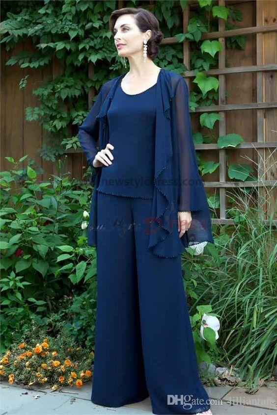 Dark Navy Mother Of The Bride Pant Suits Jacket Tunic Trousers ...