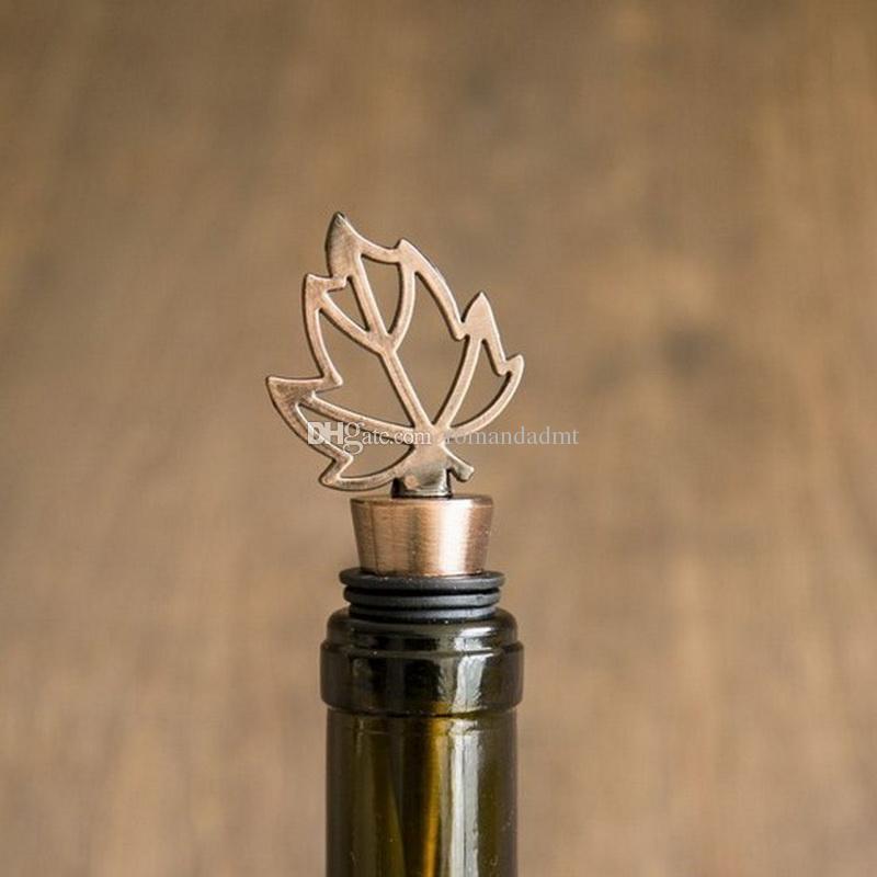 Bronze Fall in Love Maple Wine Bottle Stopper Wedding Bridal Shower Favors Gifts Leaf Bottle Stopper Party Decoration+DHL