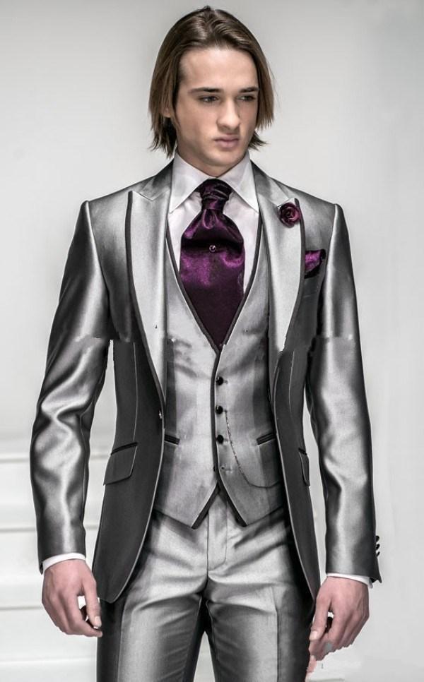 Nuevo estilo un botón brillante plata gris hombres trajes de boda mejores trajes de hombre chaqueta + pantalones + chaleco al por mayor guapo