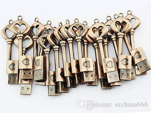 Herz-Schlüssel 8 GB USB-Flash-Laufwerk Memory Stick USB Stick Grau Stift Wasserdicht Silber Metall Schlüsselanhänger Pendrive 2 GB 4 GB 16 GB