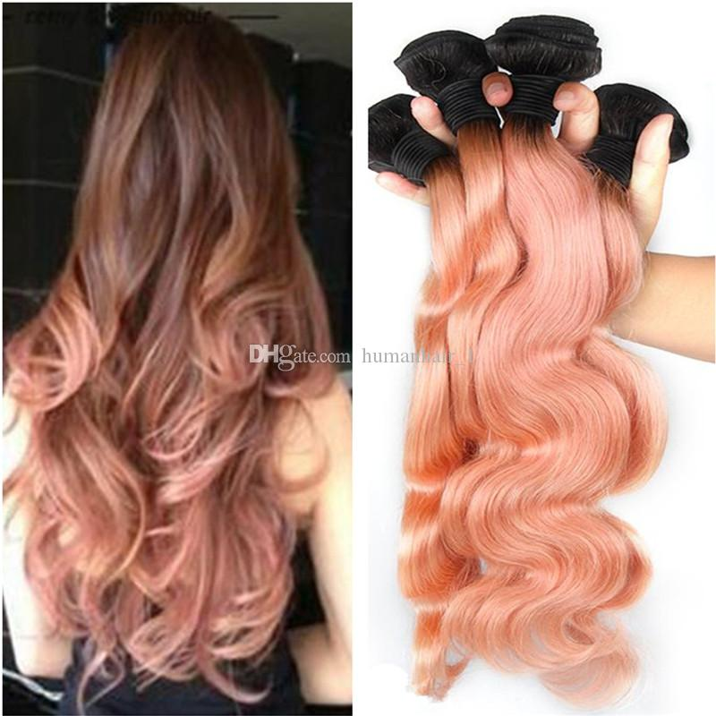 2018 9a peruvian ombre hair extensions two tone 1b rose gold pink 12 pmusecretfo Choice Image