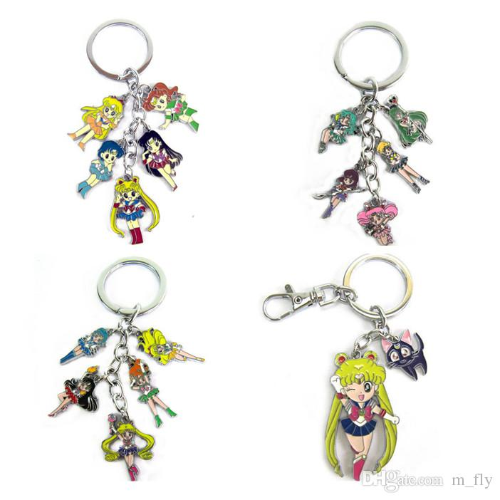 Sailor Moon Keychain Color Metal Figure Dolls Pendant Key Chain Japanese  Anime Charms With Key Ring UK 2019 From M fly 97e91c1ce