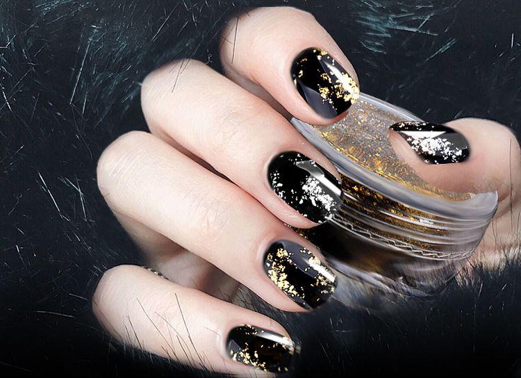 1 Box Gold Silver Glitter Aluminum Flakes Magic Mirror Effect Powders  Sequins Nail Gel Polish Chrome Pigment