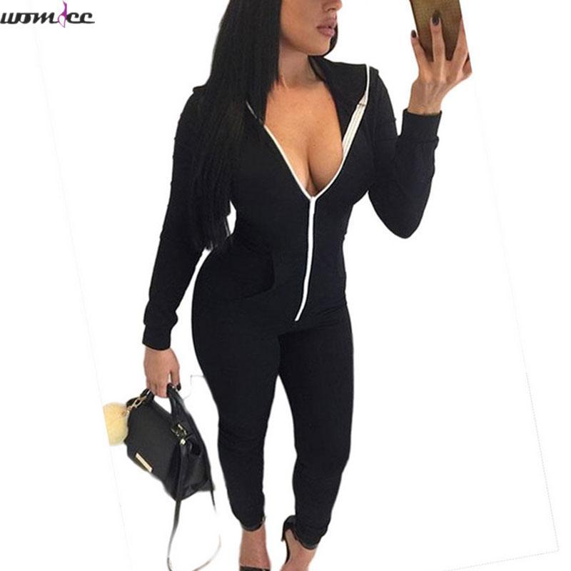f4654307cee 2019 Wholesale One Piece Outfits Jumpsuits 2016 Casual Women Long Sleeve  Bodycon Front Zipper Hooded Long Pants Sexy Black Red Rompers Playsuit From  Charle