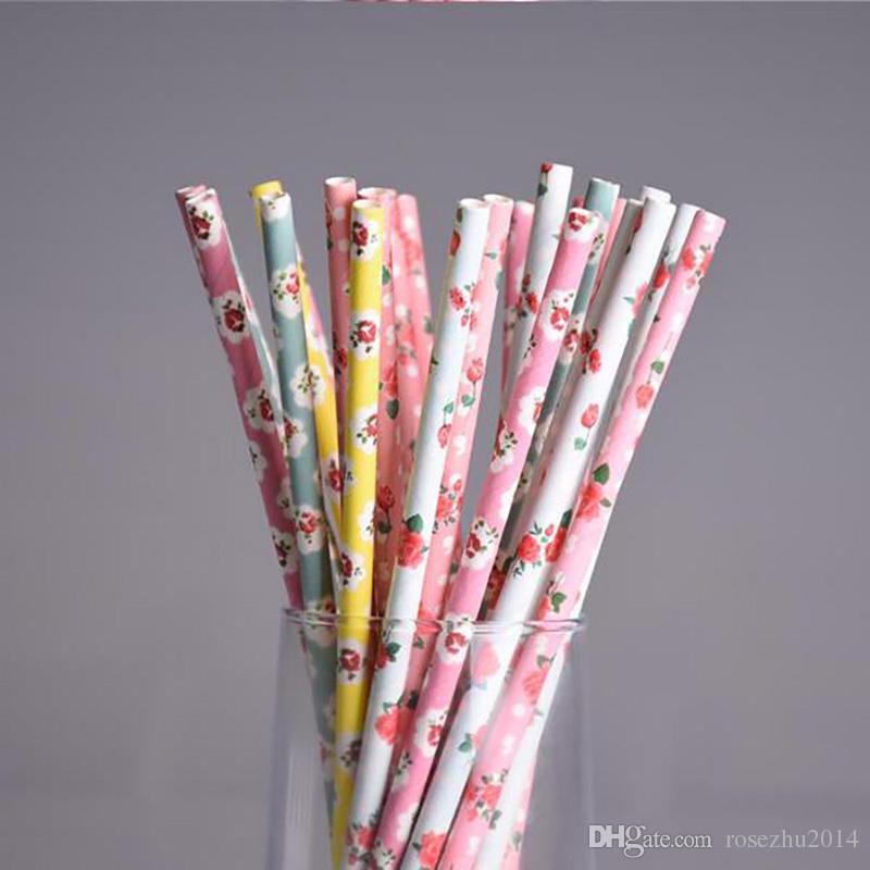 Retro Flower Paper Straws for birthday wedding decorative party supplies Creative Drinking Straws