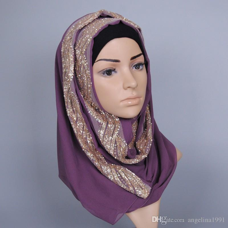Women solid color GLITTER flower chiffon silk sacrf popular shawls muffler headband summer muslim hijab scarves