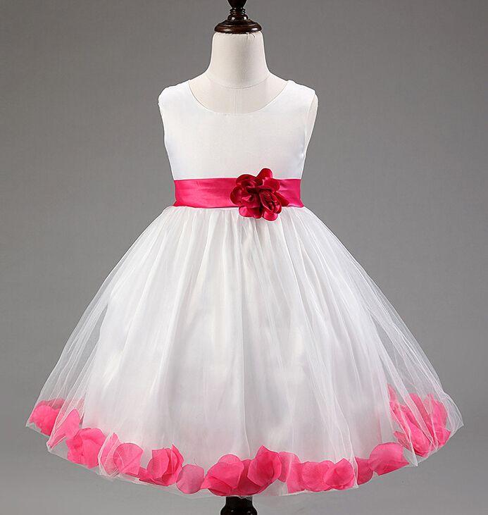 2018 Wedding Dresses For Little Girl Rose Petals Flower Girls ...