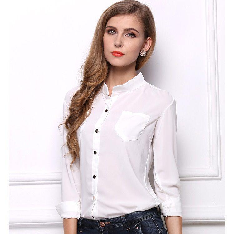 2019 New Casual White Women Blouse Ladies Solid Elegant
