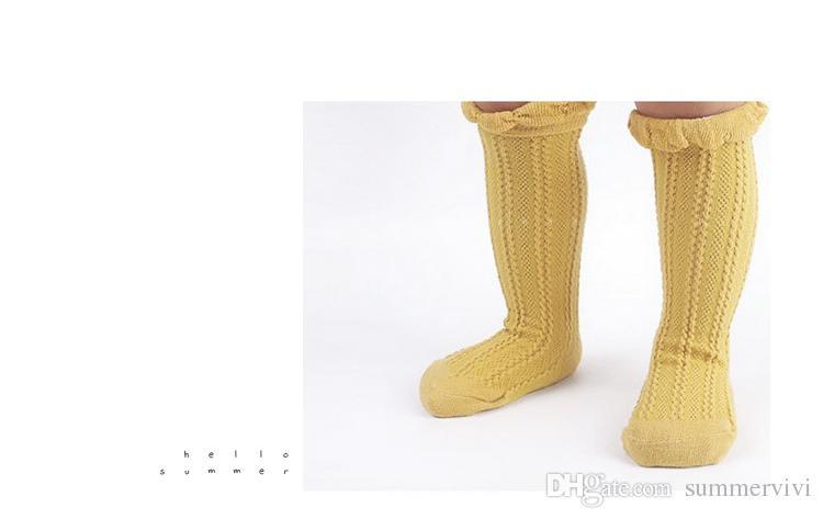 Crianças meias bebê meninas ruffle meias de tricô crianças todos os jogo Joelho Alto crianças moda joelho alta algodão crianças Stocking 5 cores A8411