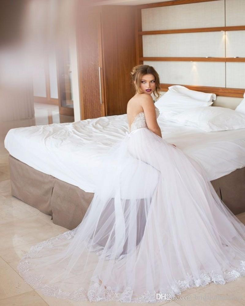 2018 New Arrival Sexy Neckline Sweetheart Appliques Backless Removable Skirt Wedding Gowns Tulle A Line Bridal Dresses