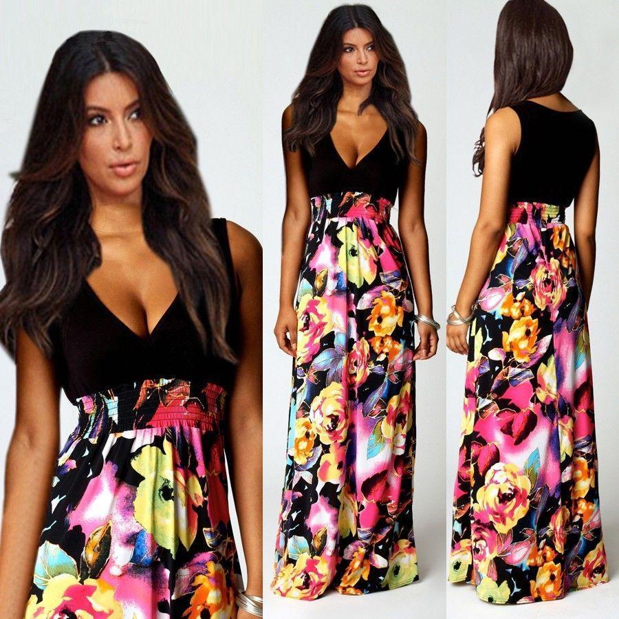 Vestido de verano de las nuevas mujeres Sexy cuello en V profundo floral de la impresión ocasional vestido maxi largo Vestidos de fiesta de la longitud del piso de Bohemia nuevo llega