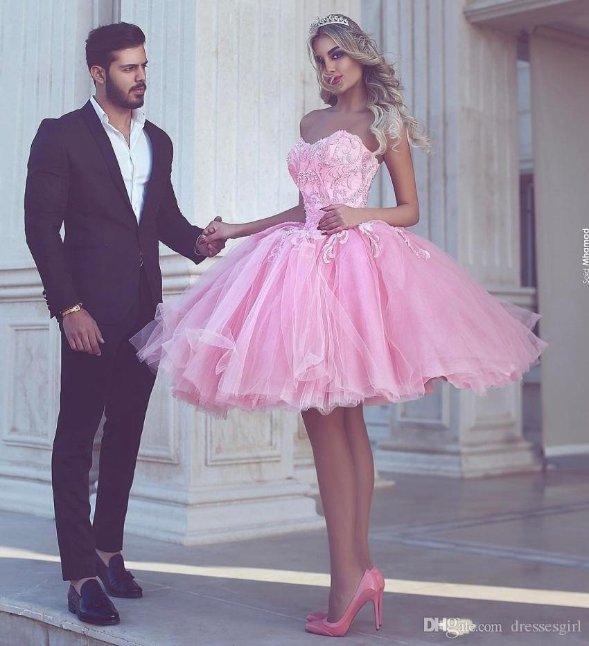 Charming Puffy Pink Homecoming Dress Sweetheart Appliqued Tulle Knee Length  Ball Gown Prom Short Party Dresses Vestidos Free Shiping The Best Homecoming  ... e58af28b4