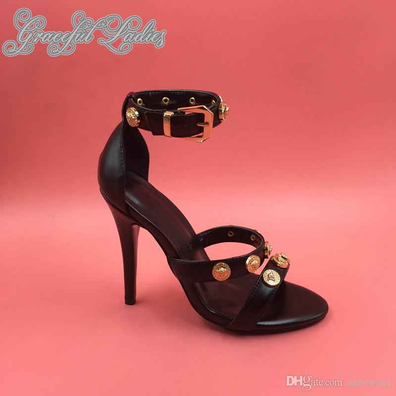 2016 Real Image Femmes D'été Style Haute Mince Talons Boucle Boucle De Fête De Soirée Chaussures De Mode Pas Cher Modeste Plus La Taille Custom Made Sandales