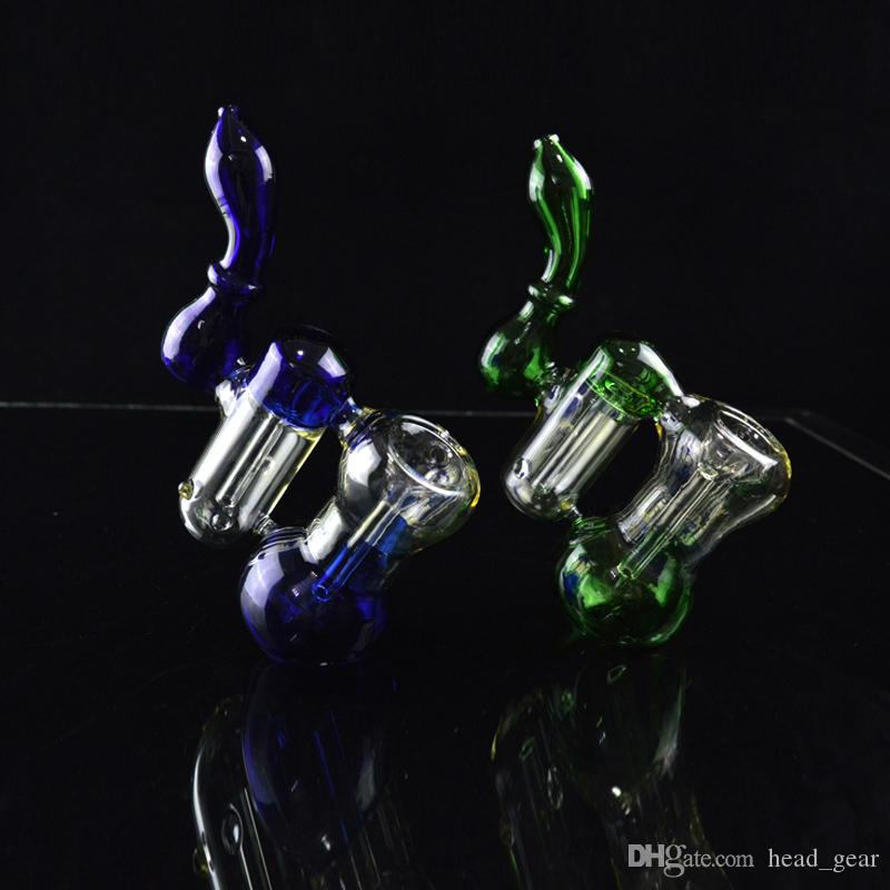 "Two Chamber Bubbler Dab Rig Colored Double Recycler Water Pipes 8"" inch Tall Downstem Stand Bongs Oil Rigs Portable Glass Hookahs Pipes"