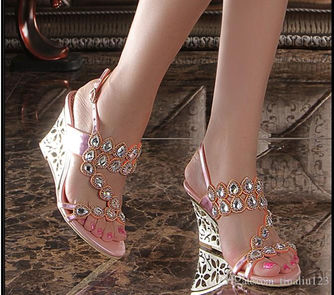 9b6a74700 Hot Sale 2016 New Fashion Gladiator Wedges High Heel Sandals Luxury Bling  Bling Rhinestone Buckle Women Shoes Summer Slippers Big Size 34 44  Espadrilles ...