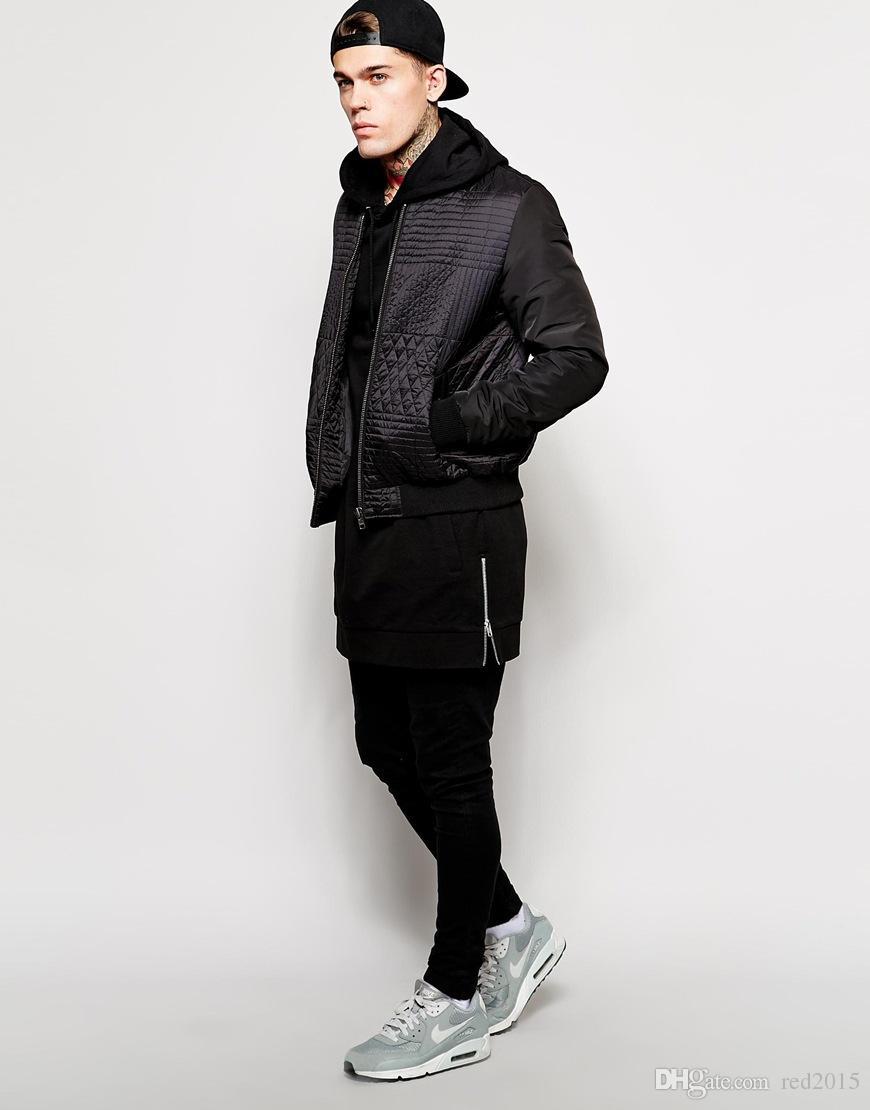 Vente en gros- Nouveaux arrivées sweat à capuche hommes molletonnés pulls molletonnés solides de la mode à capuche hauteSets le printemps et l'automne et le long capot