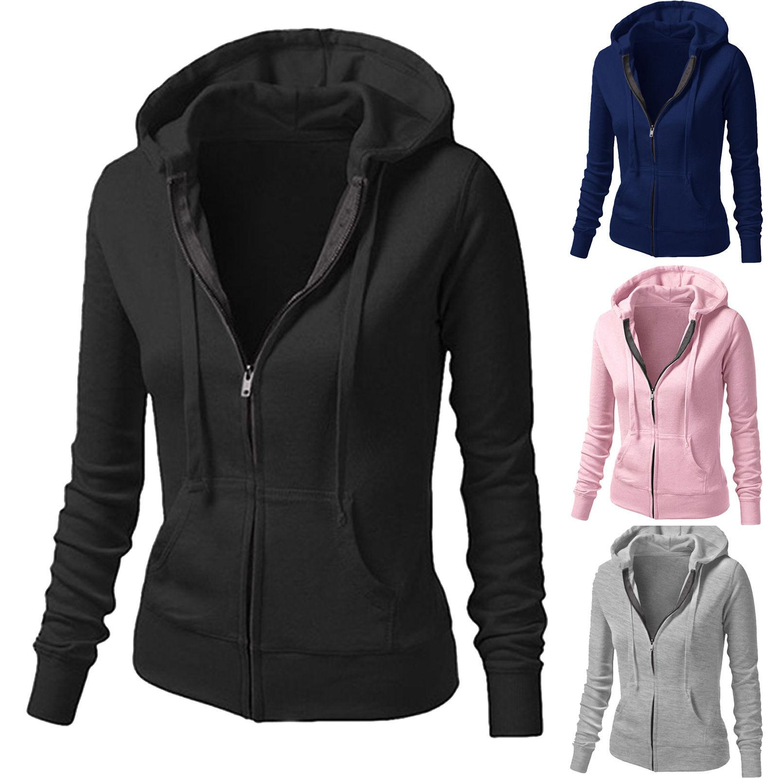 Womens Ladies Plain Girls Pocket Hoody Zip Up Tops Girls ...