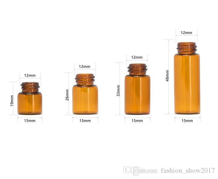 1 ml 2 ml 3 ml 5 ml Amber Dropper Mini-Glasflasche Ätherisches Öl Durchstechflasche Kleines Serum Parfüm Braun Probenbehälter