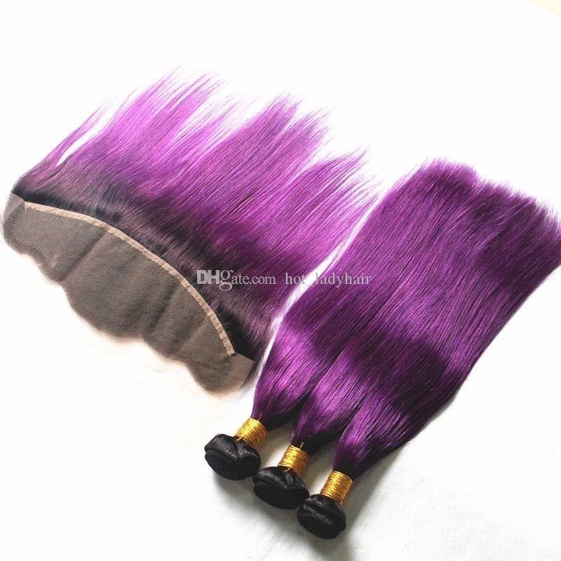 Dark Roots Purple Lace Frontal Closure With Hair Bundles 2 Tone 1B Purple Ombre Straight Human Hair Weaves With Lace Frontal