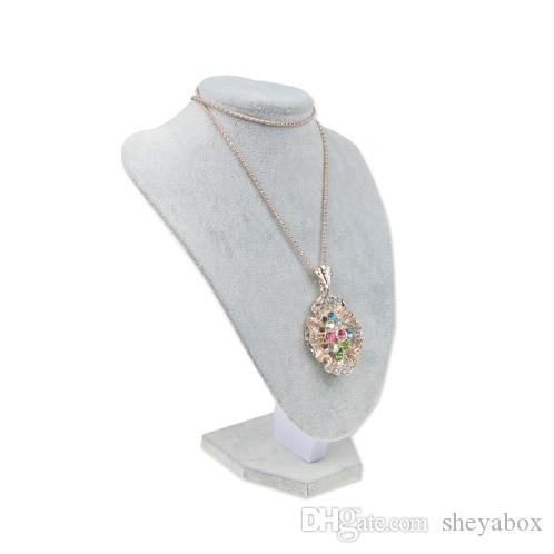 Velvet Jewelry Display Necklace Bust Wooden Neck Form For Boutique Custom Jewellery Display Stands Wholesale