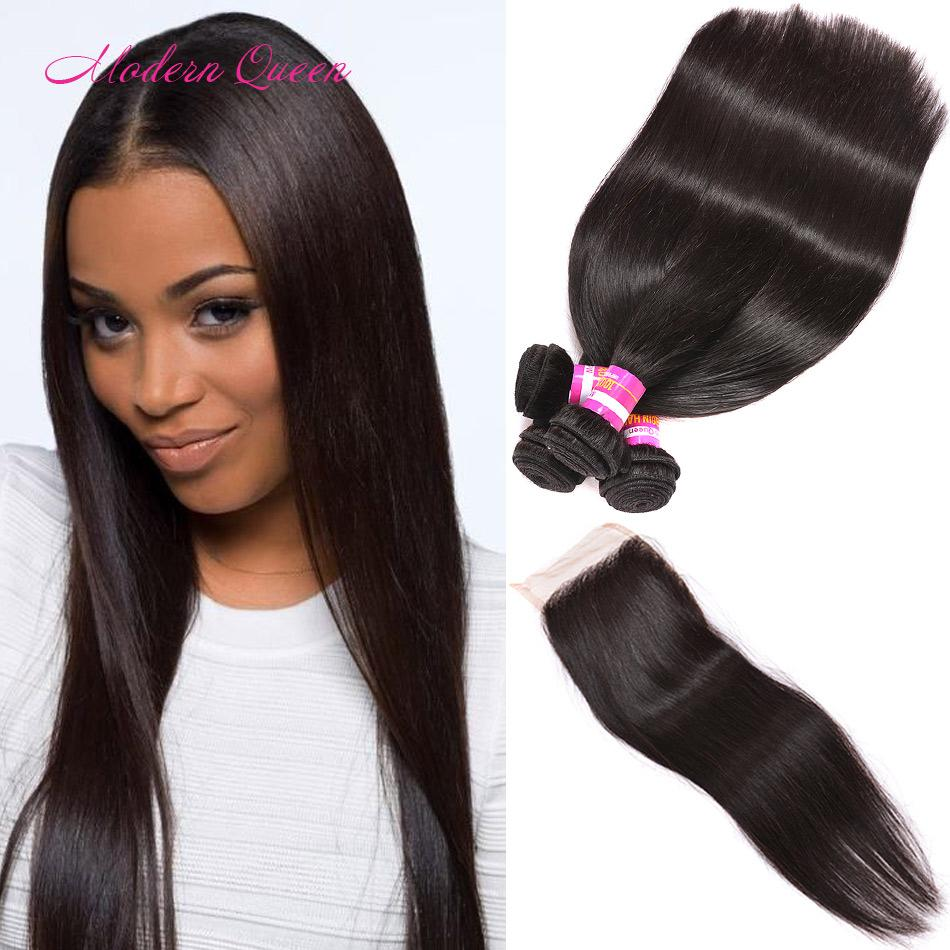 Modern Queen Malaysian Silk Straight Human Hair Wefts 4 Bundles With