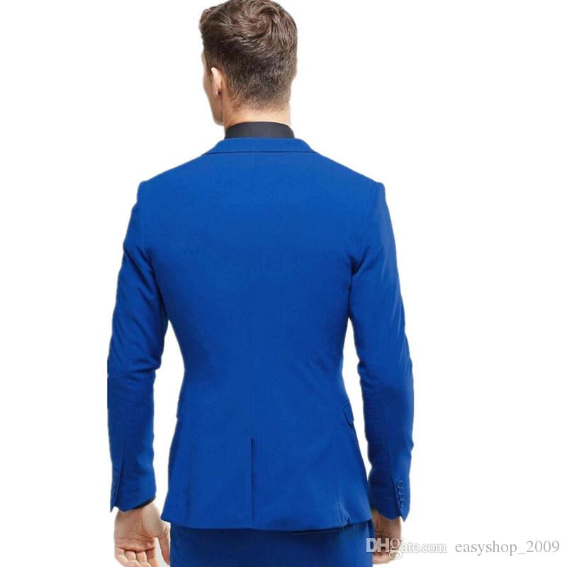 Men's Suits & Blazers Custom Royal Blue Men's Wedding Prom Suits Best Man Bridegroom Tuxedos coat + pants+vest made to order