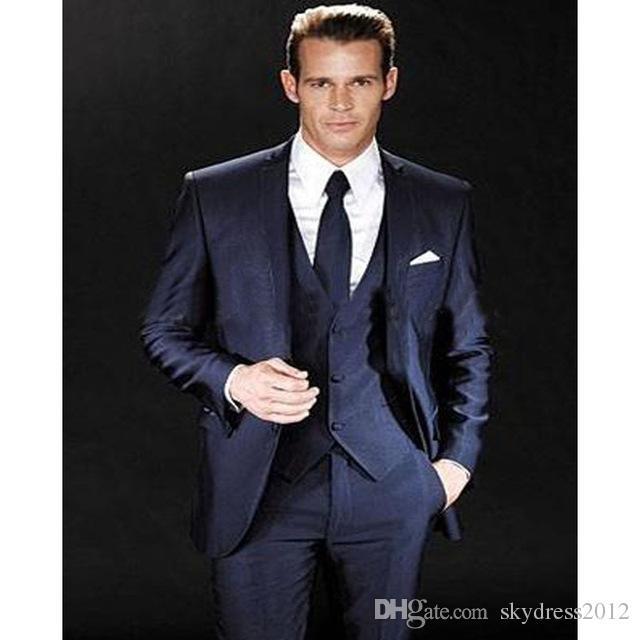2017 Smoking New Excited Groom Tuxedos Wedding Groomsman Men Suits Bridegroom Suit Jacket Blazers Setsjacket+pants+tie+vest