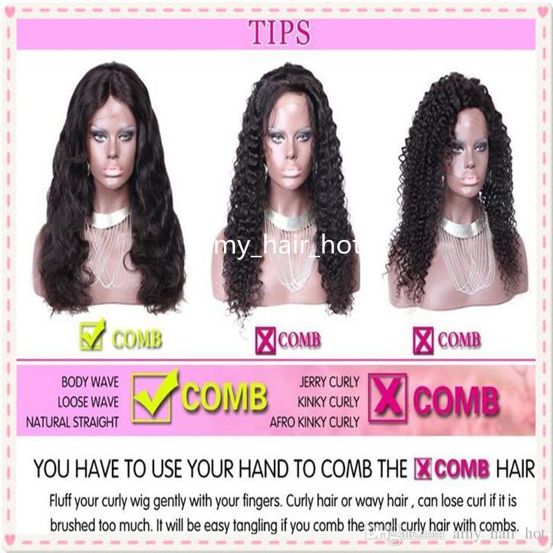 Ombre del frente del cordón del cabello humano 13x6 parte profunda del cordón de pelucas para mujeres Negro brasileño de la Virgen del pelo ondulado # 1BT30 Brown pelucas de cabello humano sin cola