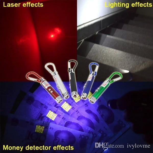 새로운 도착 다기능 미니 3 1 LED 레이저 빛 포인터 열쇠 고리 손전등 미니 손전등 손전등 돈 탐지기 빛