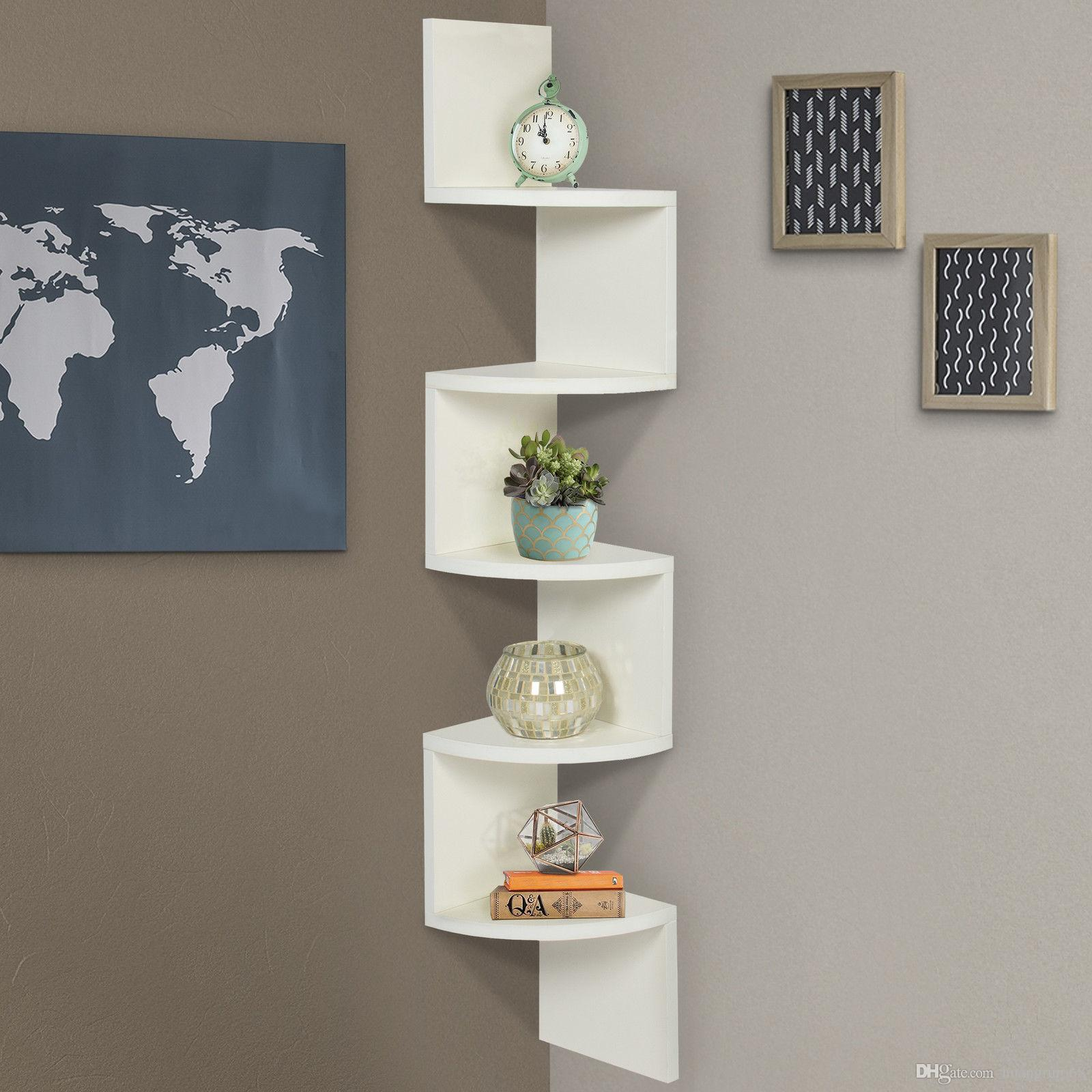 Large Corner Wood Zig Zag Wall Shelf White Finish Home Decor